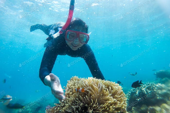 Woman Snorkeling At Karimun Jawa