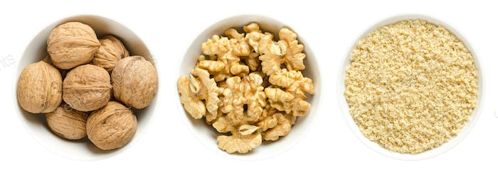 Walnuts, kernel halves and ground walnuts in white bowls