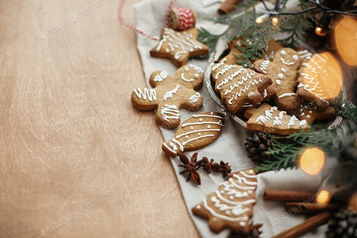 Festive gingerbread cookies with anise