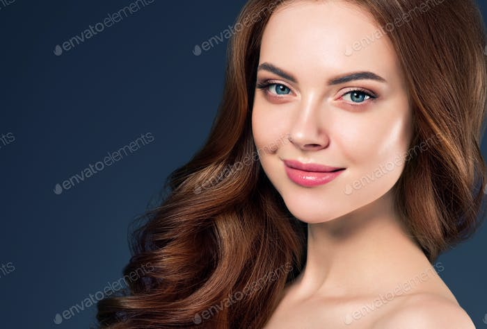 Beauty hair woman curly hairstyle natural makeup