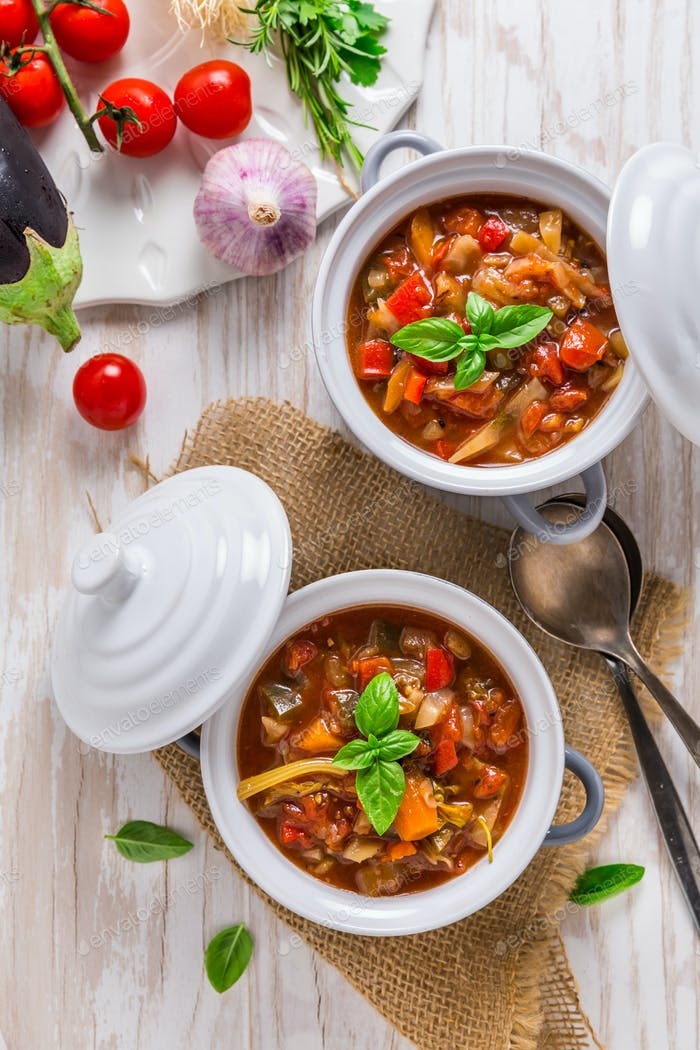 Delicious Italian vegetable minestrone soup with ingredients