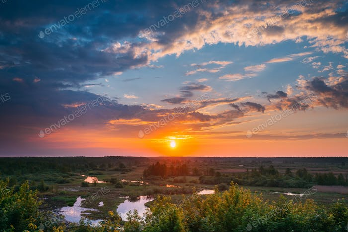 Beautiful Amazing Sunrise Above Summer Forest And River Landscap
