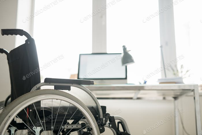 Office workplace for disabled man