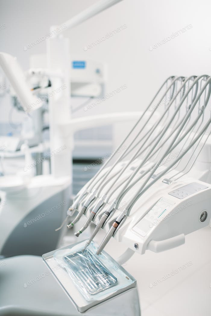 Dental equipment in dentistry clinic, stomatology