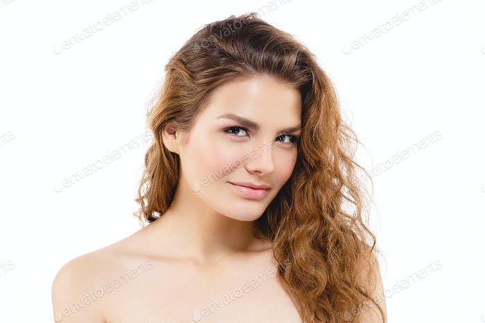 Red Hair Lips Long  Healthy Beauty Skin Smile. Spa Beautiful Model Girl Cute Face white background.