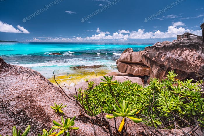 Amazing granite boulders in the jungle of Anse Source d'Argent on La Digue Island, Seychelles