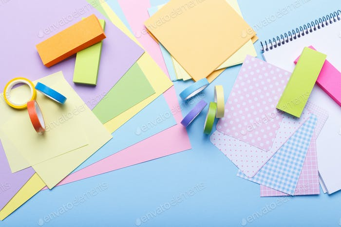 Colourful paper and stickers
