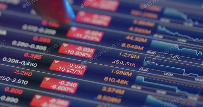 Mostrar la recesión del mercado bursátil