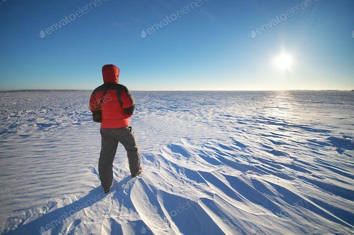 Man and winter sunlight.