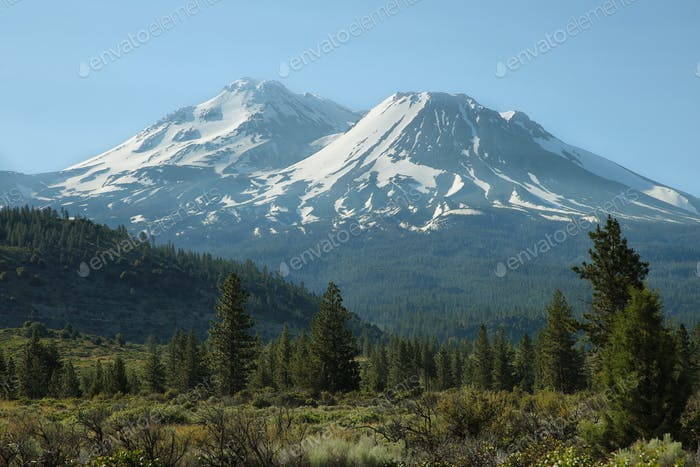 Mount Shasta and Mount Shastina in Northern California,