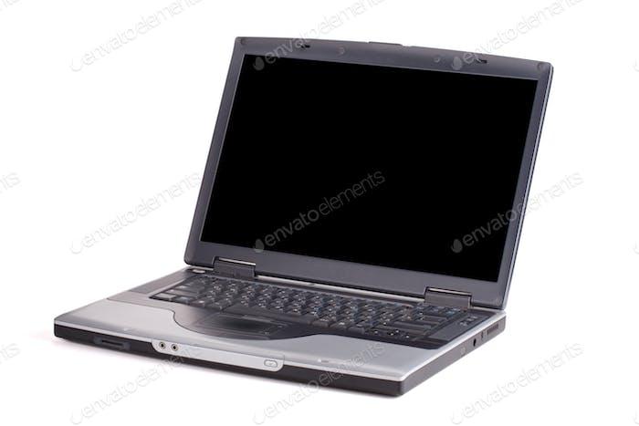 Laptop mit leerem schwarzen Bildschirm
