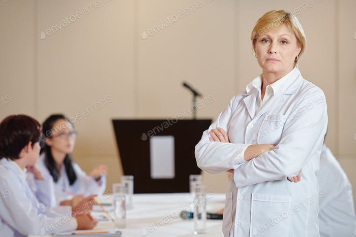 Serious researcher in labcoat