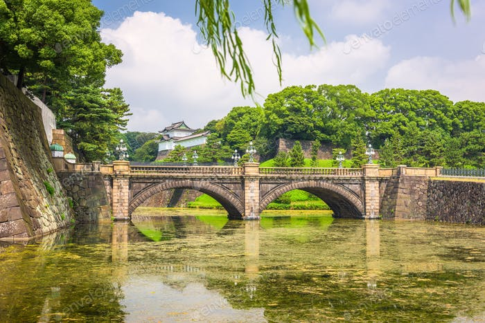 Tokyo, Japan at the Imperial Palace moat and bridge.