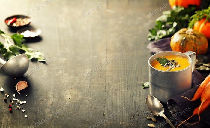 Pumpkin soup in a metal pot