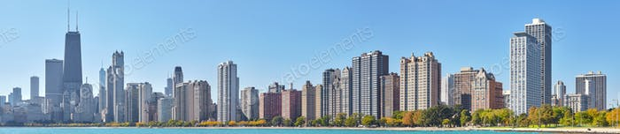 High quality panoramic picture of Chicago waterfront skyline, US