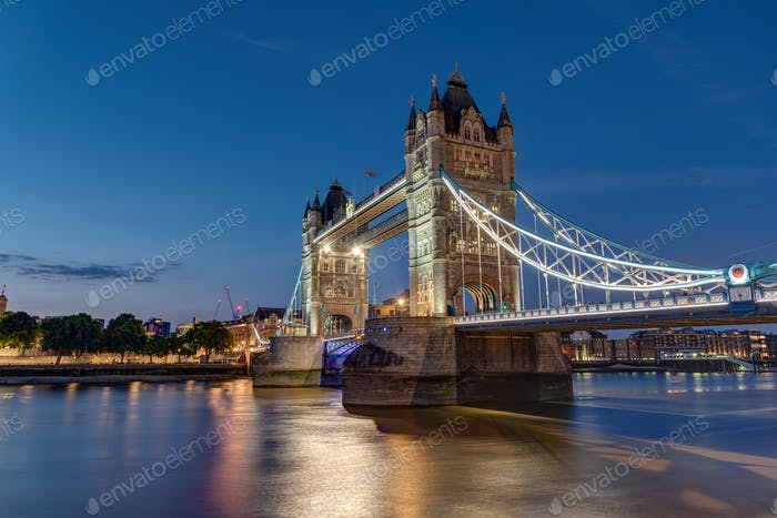 The illuminated Tower Bridge in London