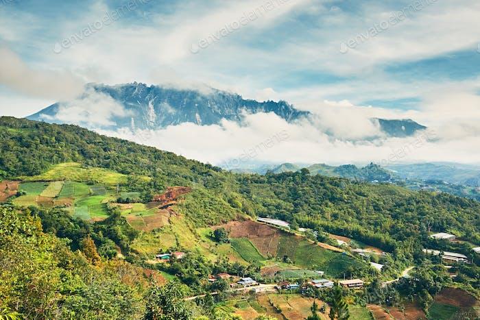 Landscape with Mount Kinabalu