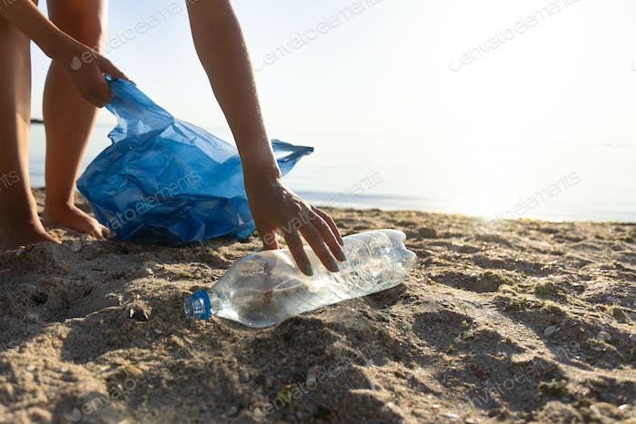 Volunteer Picking Up Plastic Bottle On Polluted Beach Outside, Cropped