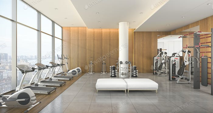3d rendering modern wood gym and fitness with city view