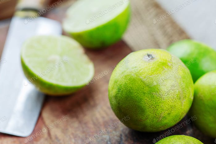 Many limes on wooden