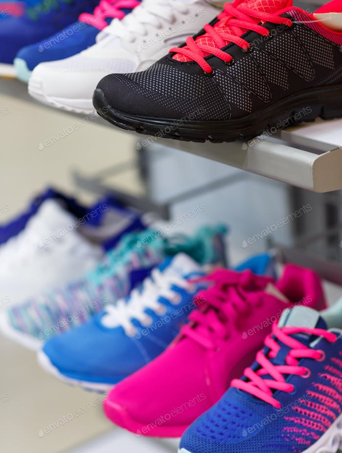 Variety of the colorful sneakers on sale