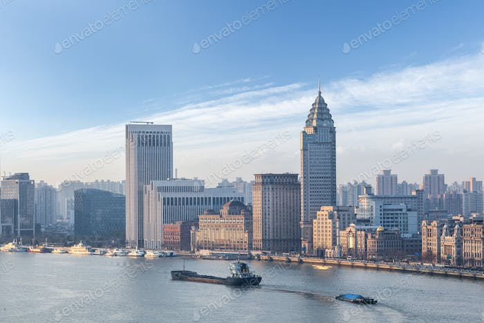 urban landscape the bund and huangpu river