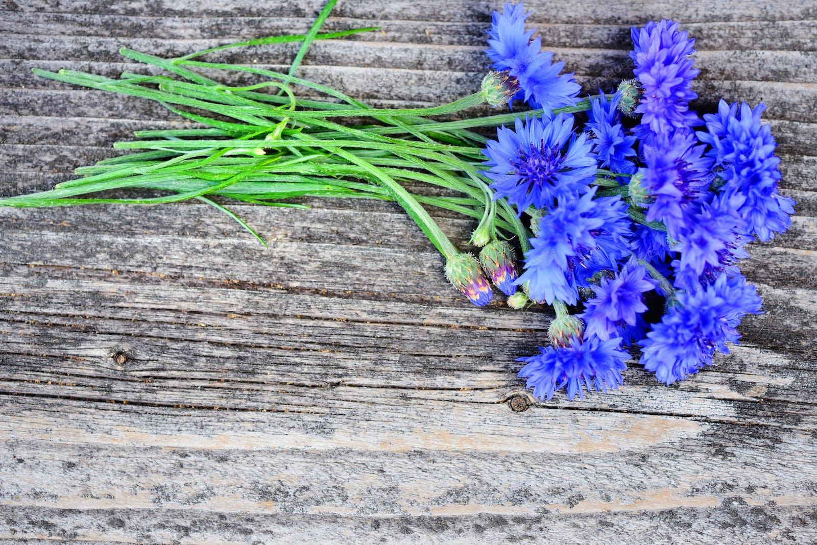 Cornflower Blue Flowers Centaurea Cyanus On An Old Wooden Tabl Photo By Nataljusja On Envato Elements