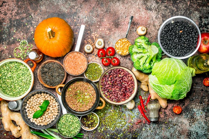 Healthy food. Assortment of Fruits and vegetables with legumes.