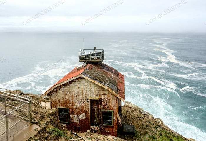 Rusty cabin at Point Reyes, Pacific coast, California