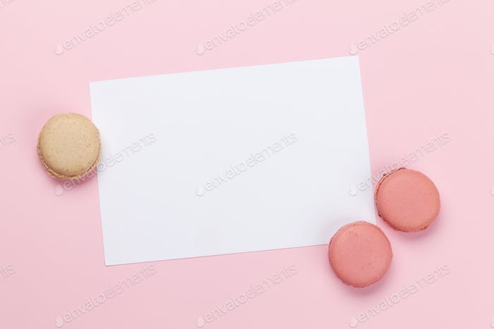 Greeting card with macaroon sweets holiday template