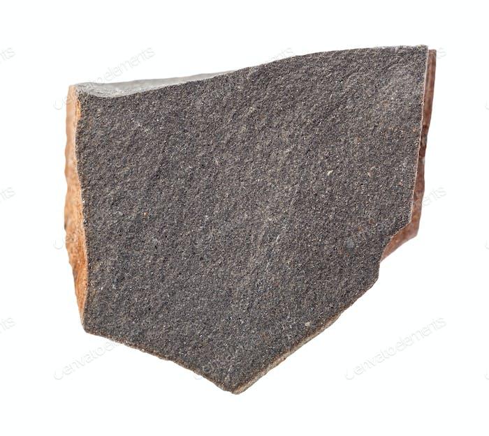 rohes Hyalobasalt-Gestein isoliert auf Weiß