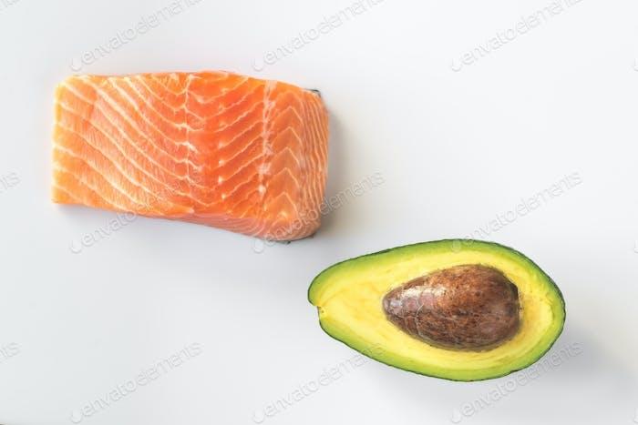 Raw salmon and avocado