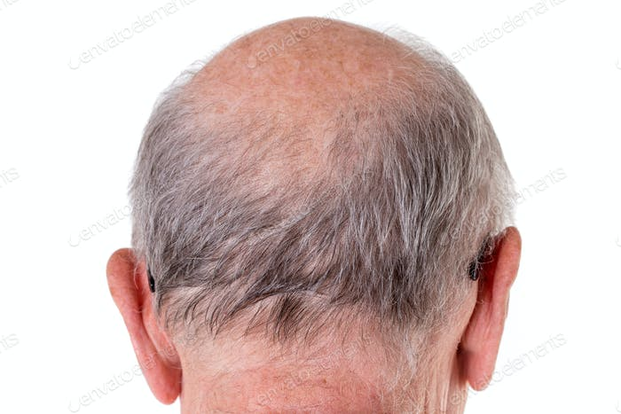 Back of the bald head of old man.