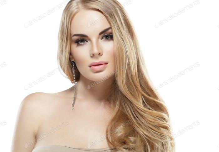 Perfekte blonde Frau Haar Schönheit Porträt
