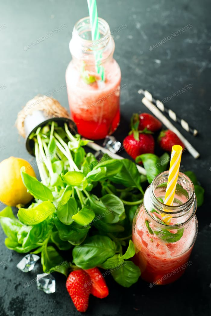 Ingredients for Refreshing summer drink with berries, lime and mint