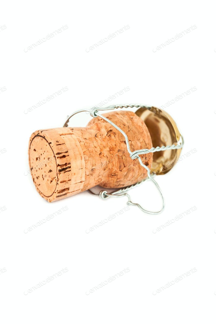 Cork with iron wire against a white background