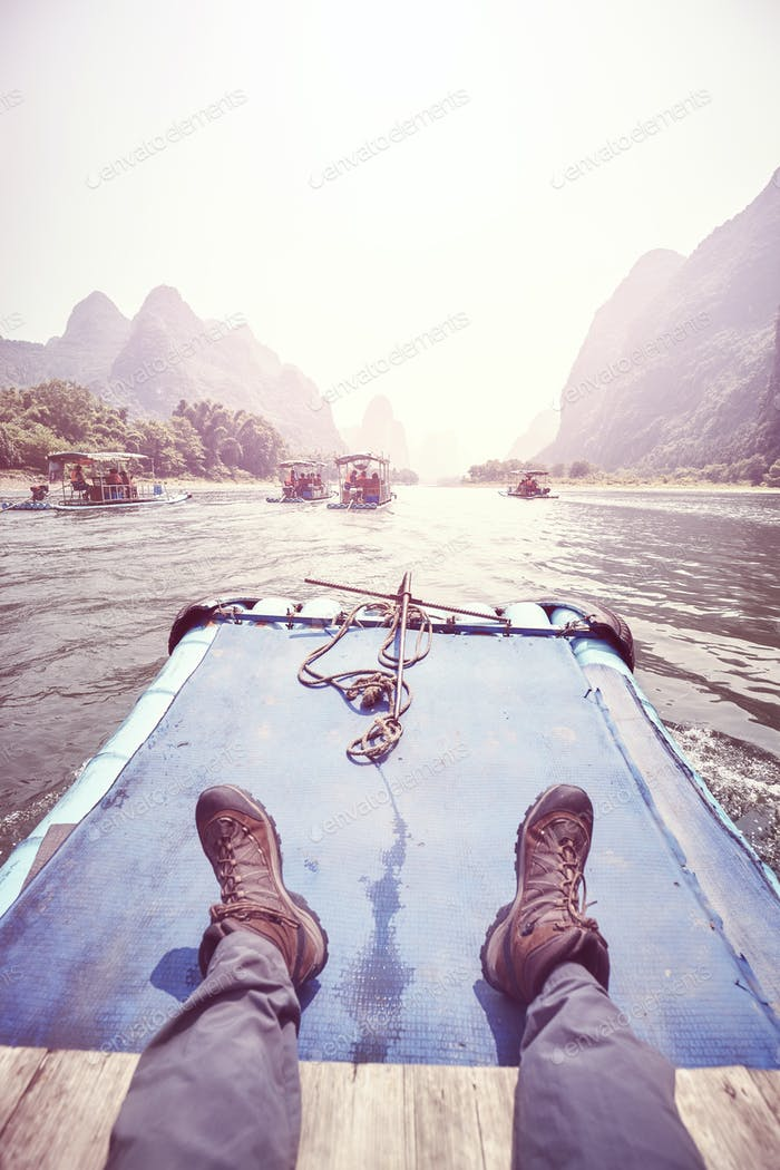 Relax on the Li River bamboo raft, China.