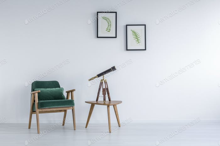 Bright room with green stylish armchair