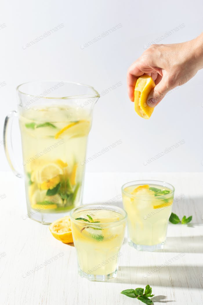Two Glasses of Lemonade in Brightly Lit.
