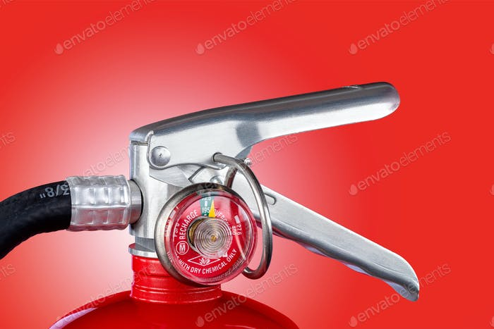 Fire extinguisher valve on red