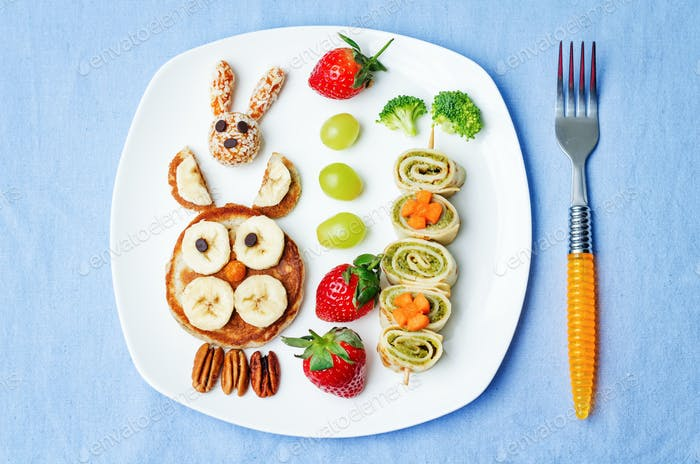lunch for kids with food in the form of funny faces