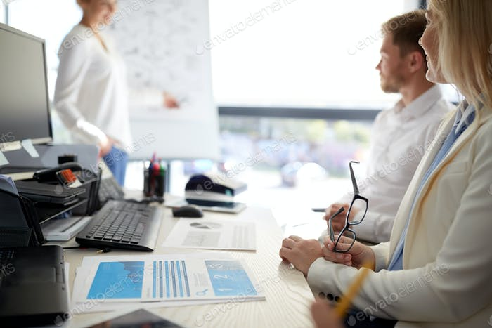 business team at presentation in office