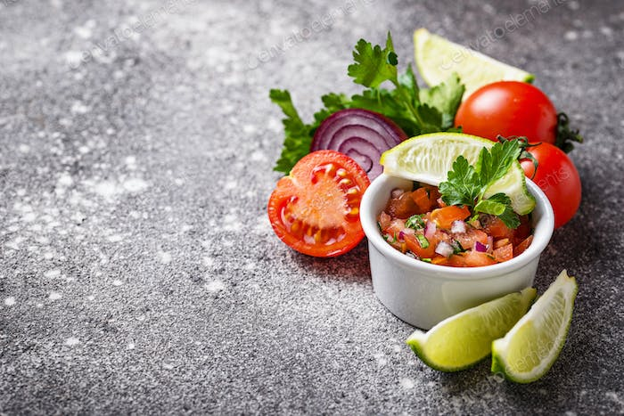 Traditional mexican tomato salsa sauce