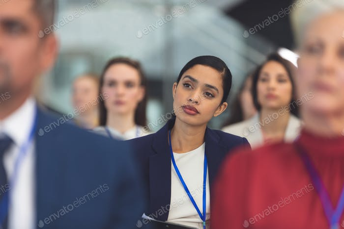 Businesswoman looking thoughtf in office