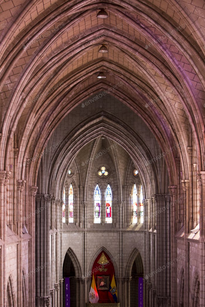 Gothic interior of the Basilica Del Voto Nacional, Quito , Ecuad