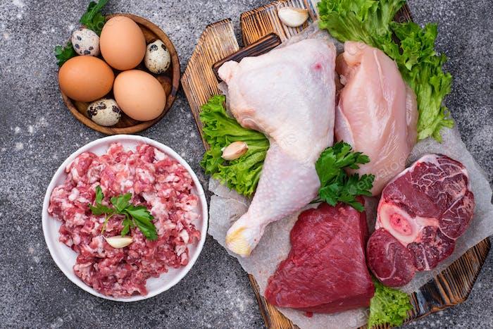Verschiedene rohes Fleisch, Quellen von tierischem Eiweiß