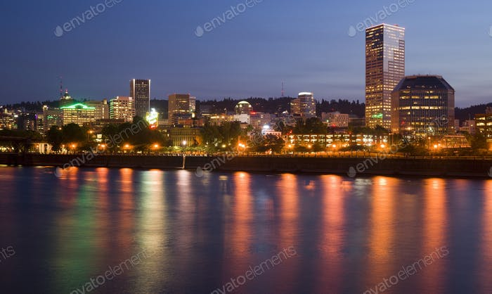 Portland Oregon Willamette River Downtown City Waterfront Skyline