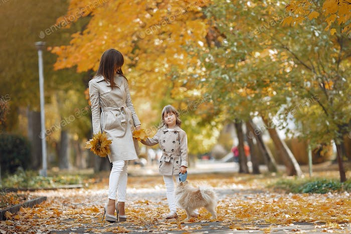 Thumbnail for Cute and stylish family in a autumn park