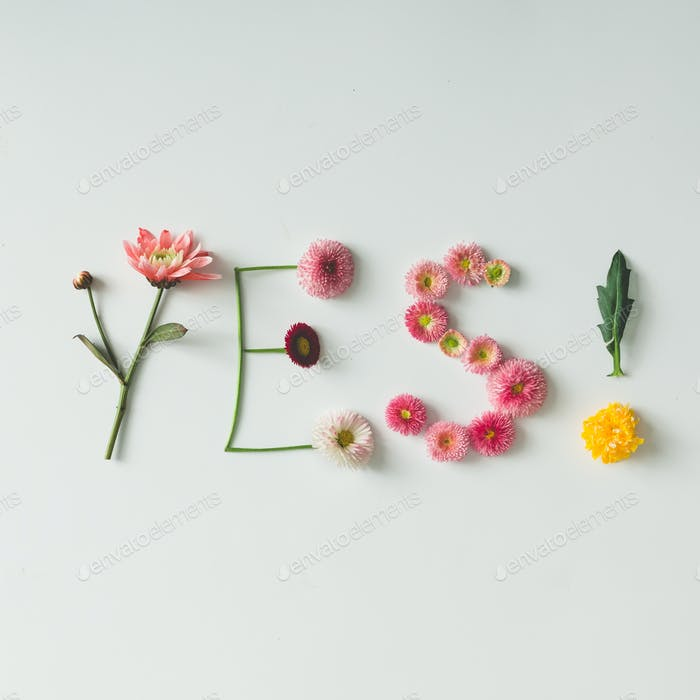 """Word """"YES"""" made of flowers on bright background"""