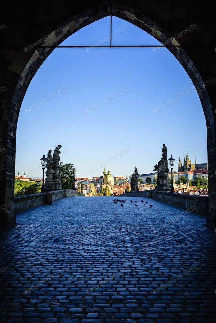 Arch over Prague cityscape, Czech Republic